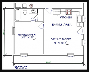 1 bed, 1 bath – 30'x20′ 600 sq. ft. barndominium floor plans