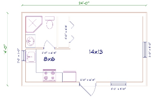 small barndominium floor plans 14'x24'