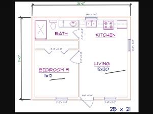 1 bed, 1 bath - 25'x21' 525 sq. ft. barndominium floor plans