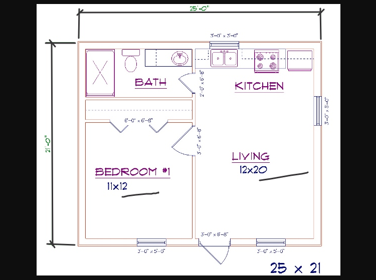 1 bed, 1 bath - 25'x21' 525 sq. ft. barndominium floor plans