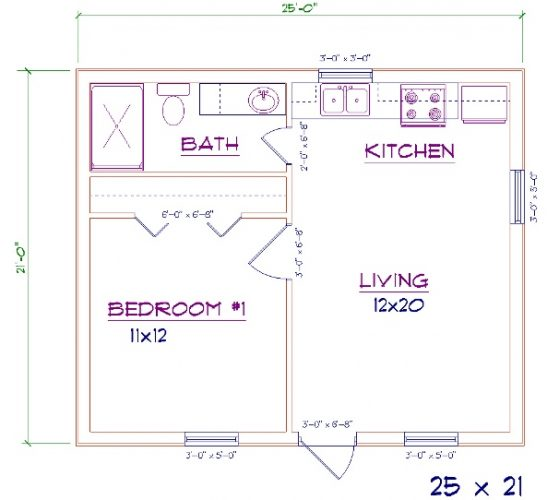 small barndominium floor plans 25'x21'