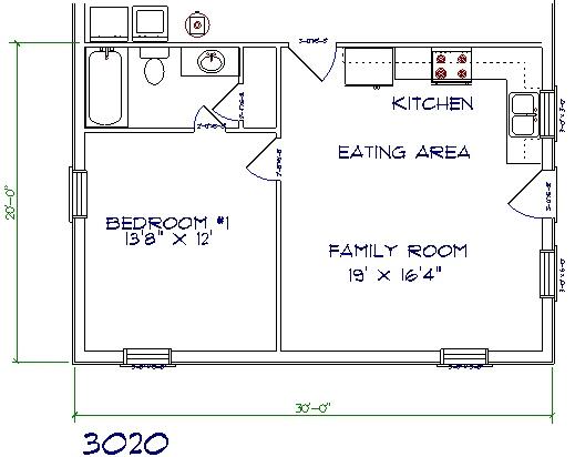 30'x20' barndominium floor plans