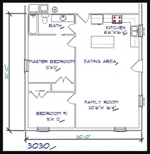 2 bed, 1 bath – 30'x30′ 900 sq. ft. barndominium floor plans