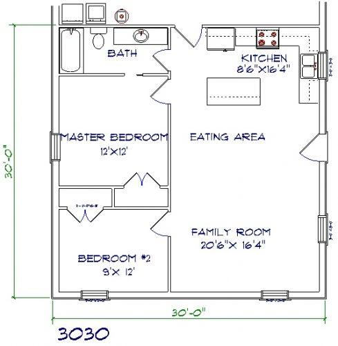 30'x30' barndominium floor plans