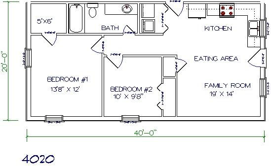 40'x20' barndominium floor plans