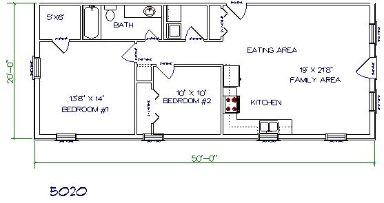 50'x20' barndominium floor plans
