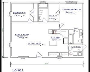 2 bed, 2 bath – 30'x40′ 1200 sq. ft. barndominium floor plans