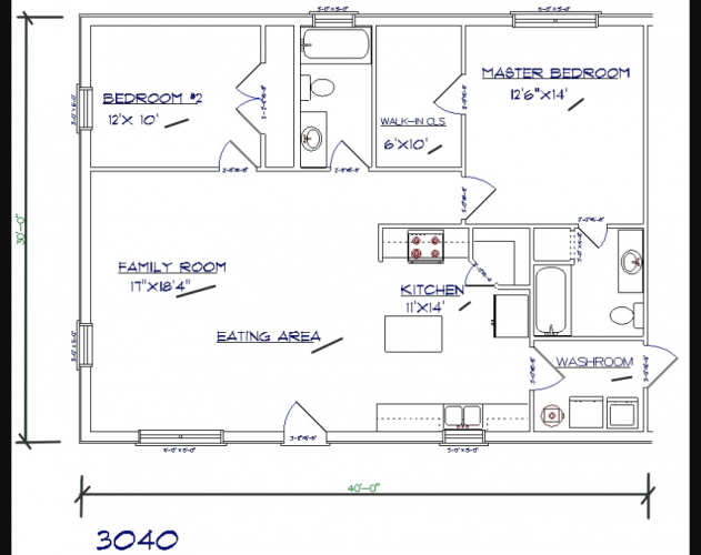 2 bed, 2 bath – 30'x40′ 1200 sq. ft. barndominium floor plans