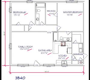 2 bed, 2 bath – 35'x40′ 1400 sq. ft. barndominium floor plans