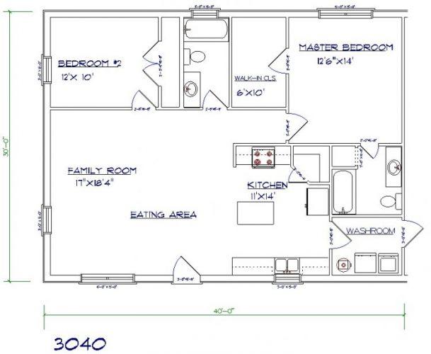 30'x40' barndominium floor plans
