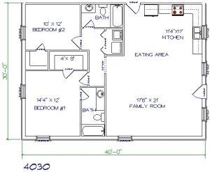 40'x30' barndominium floor plans