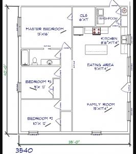 3 bed, 1 bath – 35'x40′ 1400 sq. ft. barndominium floor plans