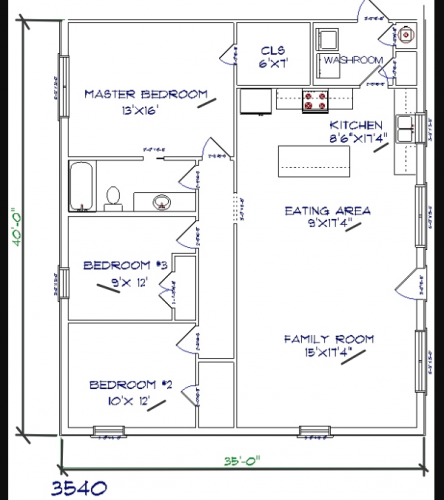 3 bed, 1 bath – 35'x40′ 1400 sq. ft. barndominium floor plans