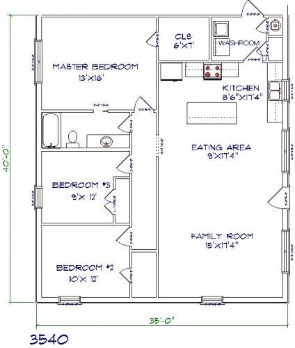 35'x40' barndominium floor plans