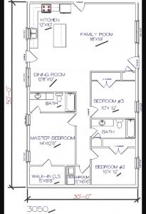 3 bed, 2 bath – 30'x50′ 1500 sq. ft. barndominium floor plans