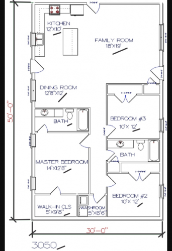 3 bed, 2 bath – 30'x50′ 1500 sq. ft. barndominium floor plans