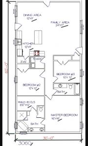 3 bed, 2 bath – 30'x60′ 1800 sq. ft. barndominium floor plans