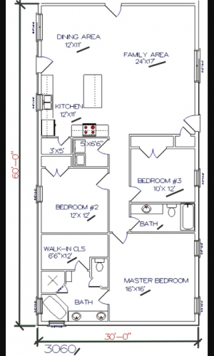 3 bed, 2 bath – 30'x60′ 1800 sq. ft. barndominium floor plans