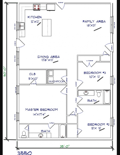 3 bed, 2 bath – 35'x50′ 1750 sq. ft. barndominium floor plans