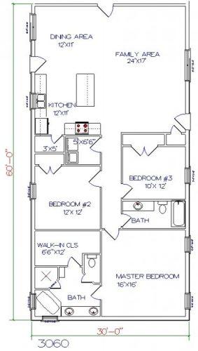 30'x60' barndominium floor plans