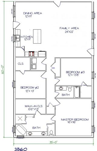 35'x60' barndominium floor plans