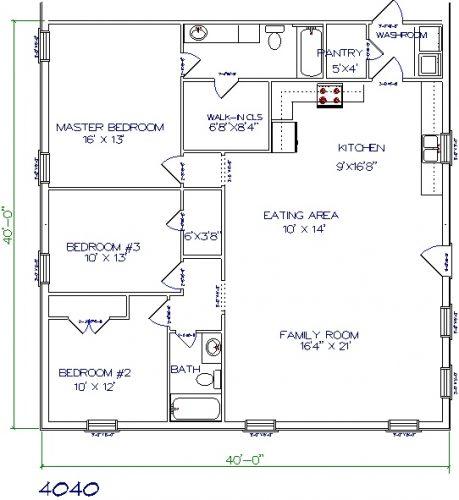 40'x40' barndominium floor plans