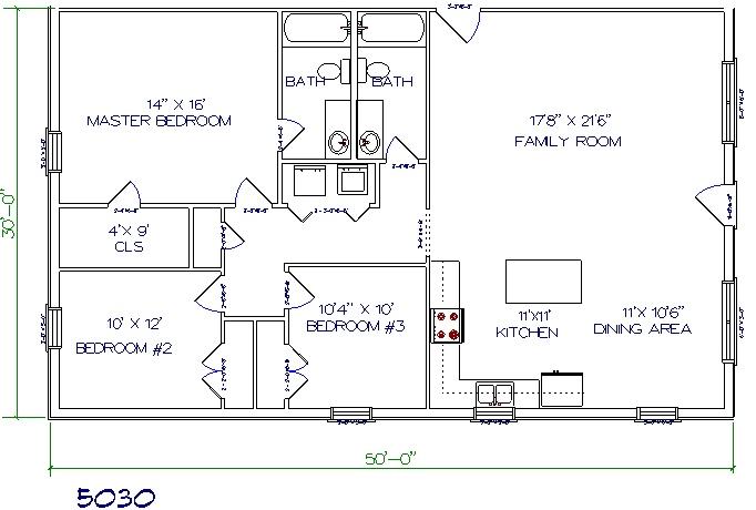50'x30' barndominium floor plans