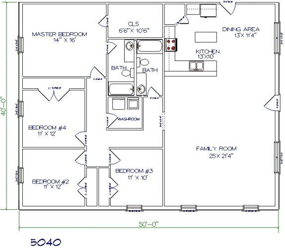 50'x40' barndominium floor plans