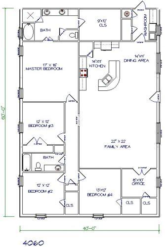 40'x60' barndominium floor plans