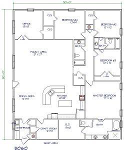 50'x60' barndominium floor plans