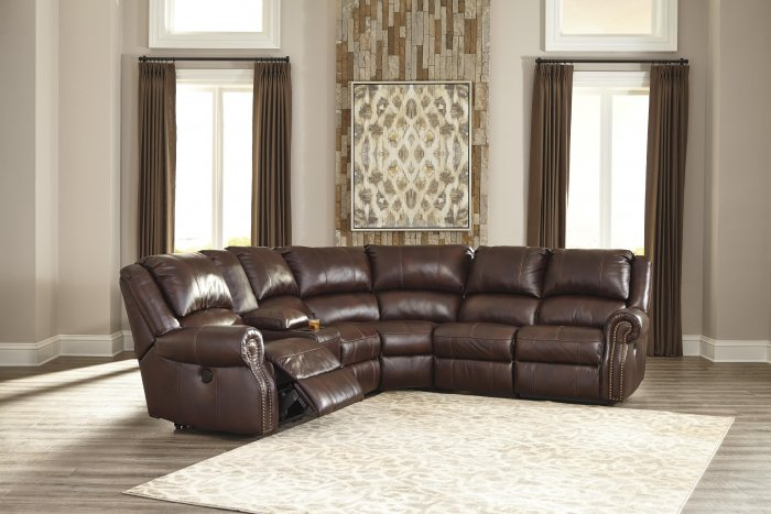 6 Piece faux PU leather sectional reclining sofa