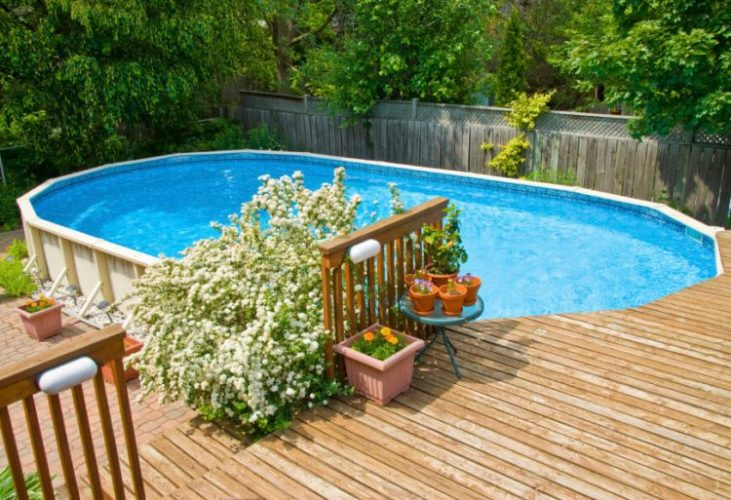 Above ground pool ideas with a bit of landscaping