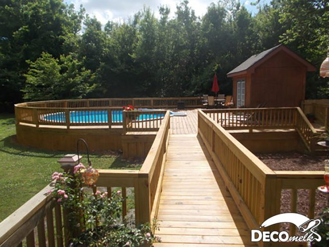 Above ground pool ideas with decks as walkway