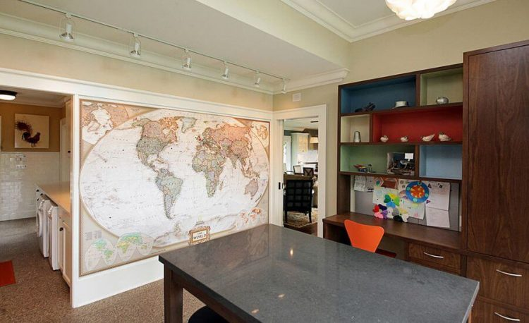 Accent wall ideas by adding a world map