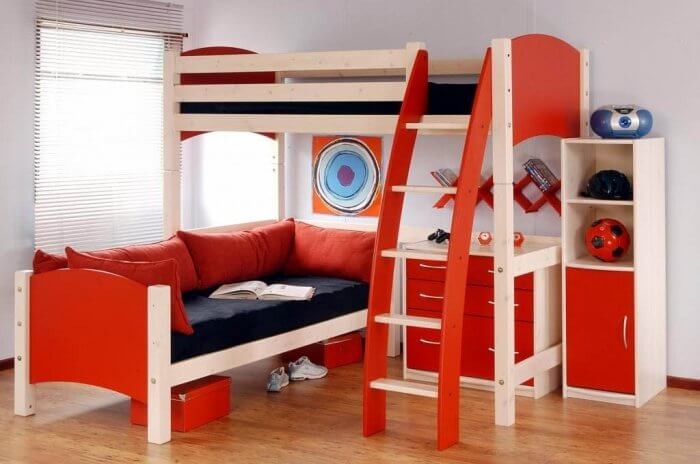 Types of beds: L-shaped bunk bed