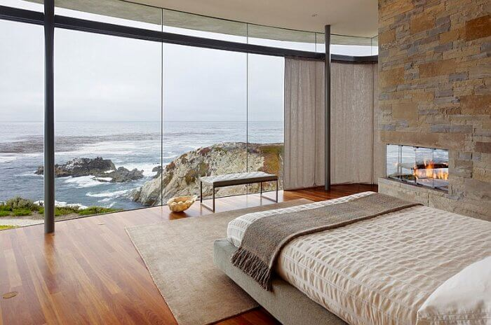 Beautiful and minimal bedroom with ocean views