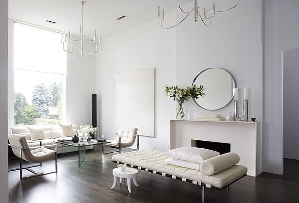 Beautiful minimalist living room in white