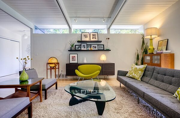 Contemporary room filled with Mid Century modern delights