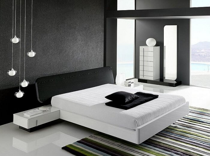 Dramatic minimalist bedroom makes a bold visual statement