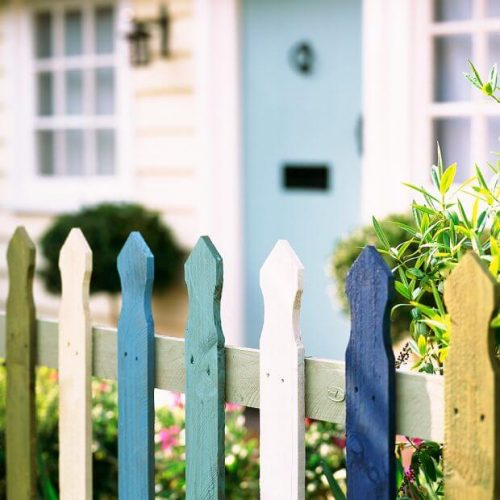 Garden fence ideas in multicolored rail layout