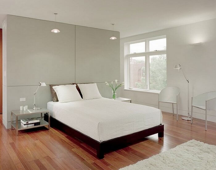 Gorgeous master bedroom suite with warm textures