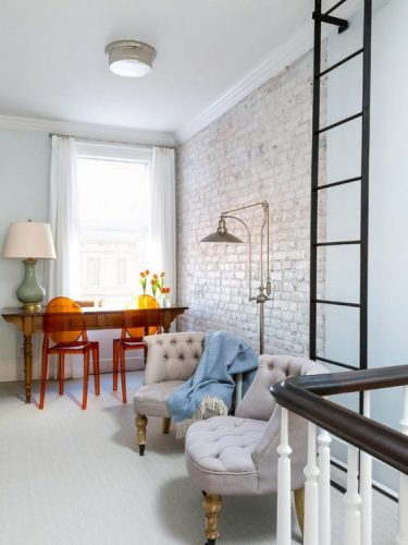 Light and ventilated whitewashed brick wall
