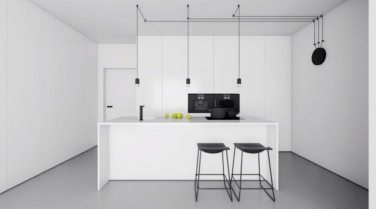 Modern white kitchen in minimalist