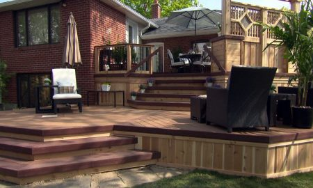 Multi level cedar deck with privacy wall