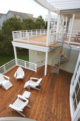 Multi level decks with spiral staircases