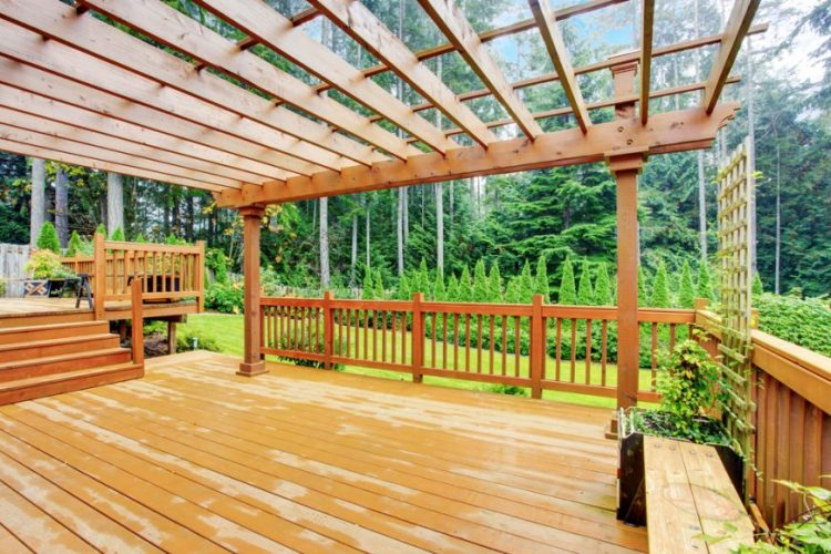 Pergola covered multi level decks