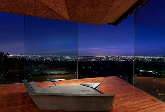 Stunning minimalist bedroom with amazing views