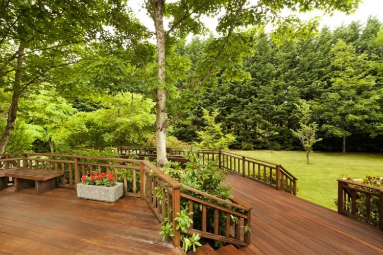 Two level decks with landscaping between