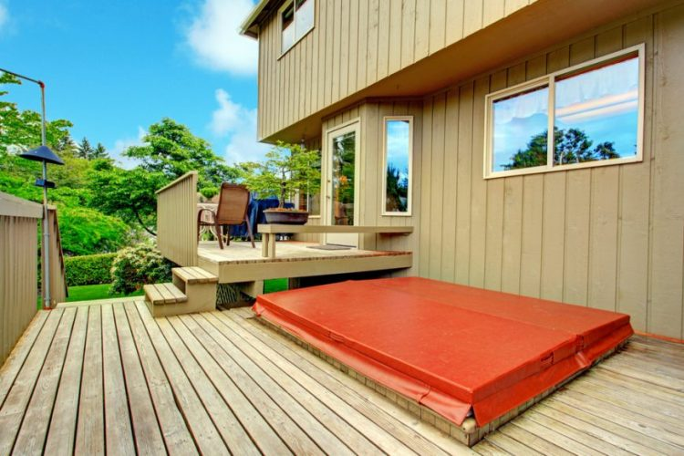 Two level deck with hot tub