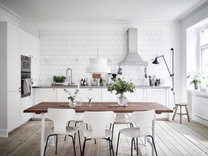 White brick  wall ash pine floor kitchen